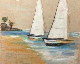 Two Sailboats near the Shore