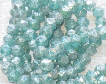 8mm Czech Glass English Cut Beads Aqua Mercury (10pcs) -Czech Glass Beads