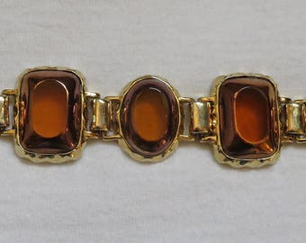 Amber Glass and Gold Tone Metal Bracelet ~ Marked LC ~ Estate Jewelry