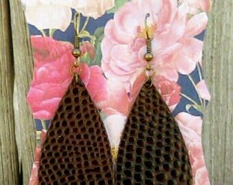 Brown Leather Alligator skin Pattern Earrings