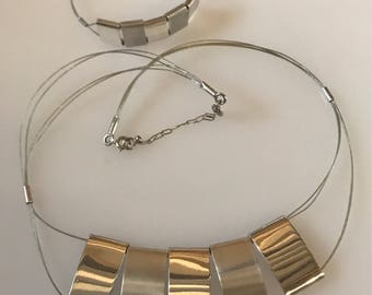 M. SERRANO 925 TS-146 Mexico Silver Modernist Necklace And Bracelet