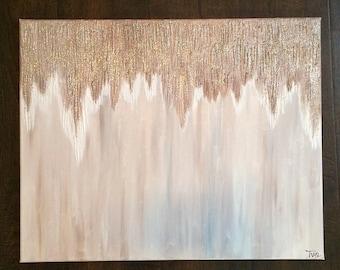 ORIGINAL Canvas Painting Mauve Gold ZGallerie Sparkle Wall Art