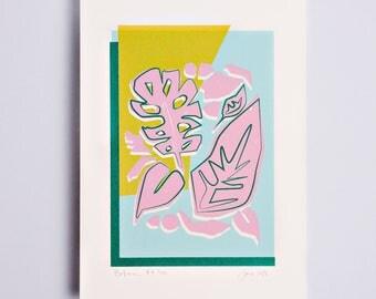 Botanic #4 Limited Edition Screen Print, Line Drawing, Hand Printed, Fashion Illustration, Fashion Wall Art, Floral Print, Floral Art