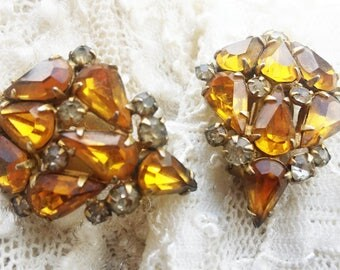 Vintage Amber and Clear Glass Rhinestone Earrings - 1940s - Marked Pat. 2583988 - Warm - Great for Special Occasions
