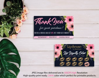 LipSense Loyalty Cards, LipSense Thank You Cards, Customer Loyalty, Punch Card, Lipsense Loyalty Rewards, Instant Download, Digital File