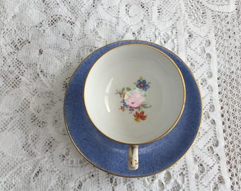 Vintage Art Deco Demitasse Teacup and Saucer by Grosvenor in Blue / Floral Design
