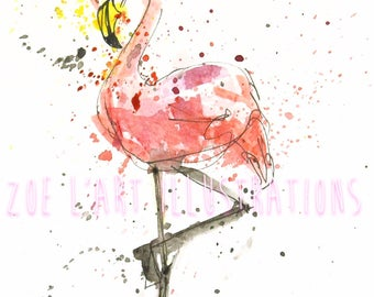 Watercolour Flamingo Illustrations, Set of 5, size A6