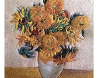 Famous Van Gogh sunflowers wool felt art painting. Home Decor. Gift idea.