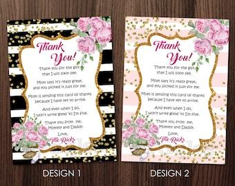 Personalized Baby Shower Thank You Card Invitation Invite Black White Stripes Watercolor Roses Gold Confetti Printable DIY - Digital File