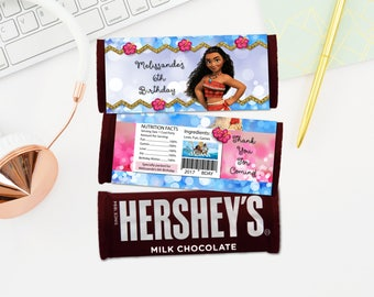 Personalized Moana Hershey's Chocolate Bar Wrapper Blue and Pink Bokeh Hibiscus Tropical Flowers Birthday Party Favors DIY - Digital File