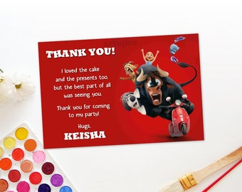 Personalized Ferdinand The Bull Thank You Card Birthday Party Red Lupe Nina DIY Printable - Digital File