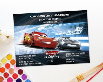 Personalized Cars 3 Birthday Party Invitation Invite Lightning Mcqueen Jackson Storm Racing Race Car Tracks DIY Printable - Digital File