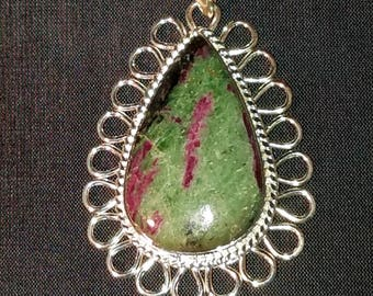 Ruby Zoisite in Sterling Silver