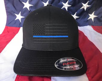 Free personalization, Men's Thin blue line police officer blacked out American flag hat, police cap, custom police officer embroidered hat