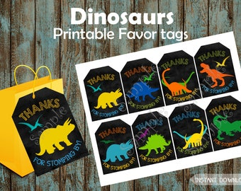 Dinosaur Favor Tags, Dinosaur  Gift Tags, Dinosaur Party Tags, Dinosaur Thank You Tags, Dinosaur Printable Tags, Dinosaur Birthday Party