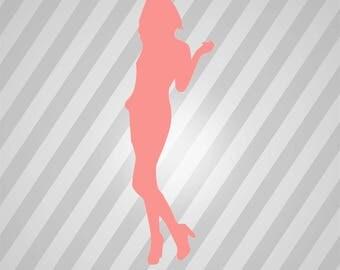 Trucker Girl Silhouette - Svg Dxf Eps Silhouette Rld RDWorks Pdf Png AI Files Digital Cut Vector File Svg File Cricut Laser Cut