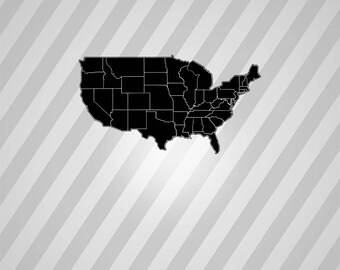 State Map Silhouette Etsy - Us map vector ai