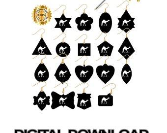 Earrings Svg, Leather Jewelry Svg, Dromedary Camel, Earring Cut File, Cricut, Earring Svg, Leather Earring Svg, Jewelry Svg