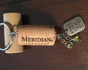 a friend LOVES at all times Wine Cork Keychain