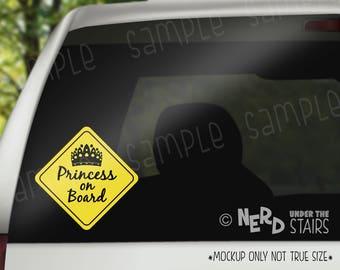 Princess on Board Decal, Fun Baby on Board Sticker, Princess Decal, Princess Mom Vinyl Sticker, Disney Mom Gift, Girl Mom Decal
