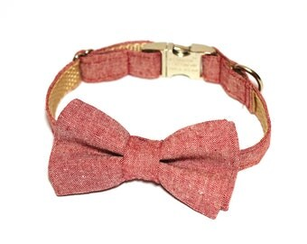 Red denim- Bow Tie with and without Collar