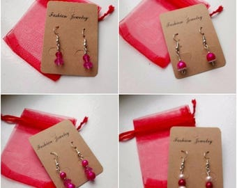 Pink drop earrings set 2