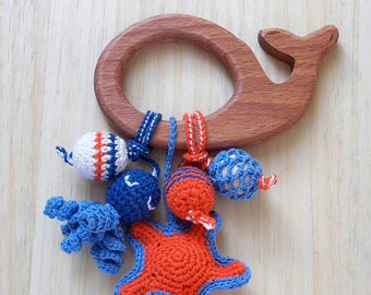 Whale Teether - Wooden teether - Sea animals toy - Whale toy - Nautical toy - Organic Infant toy - Natural wood toy