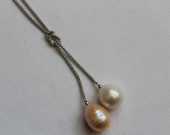 SALE. Fresh Water Pearls Pendant and 925 Sterling Silver Chain Necklace.