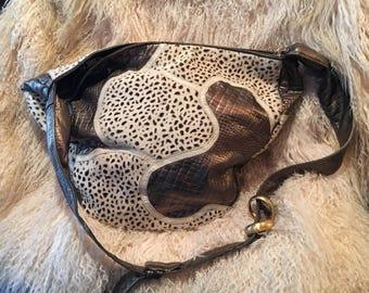 Shariff Handcrafted Bronze Leather & Animal Fur Handbag