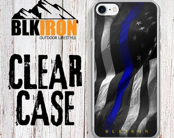 Clear iPhone Case - America thin blue line Phone Case -Blue Lives Matter - iPhone