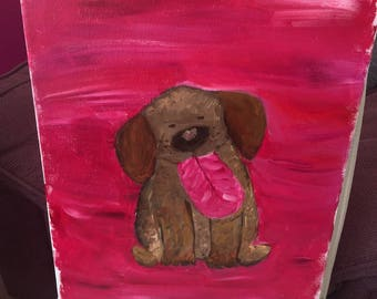Hand Painted Happy Dog Canvas