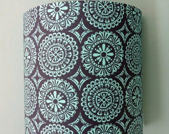 Wall fabric PM teal and grey circles