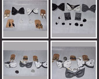 Bow set reversible leather and fabric.
