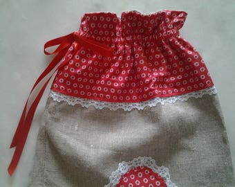 Red cotton linen, lace and linen bag