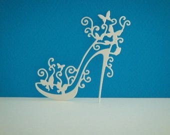 Shoe heel white canson paper cutting