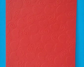 Cut bottom with hearts embossed red card