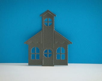 Cut gray Church for scrapbooking and card