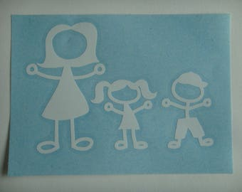Decal in white vinyl family shiny height 8.1 cm and width 11.6 cm (left outer glass pose)