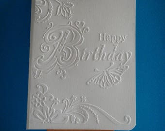 "Cut card white embossed ""Happy Birthday"""