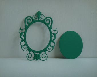 Cut out frame mirror in green for scrapbooking and card drawing paper