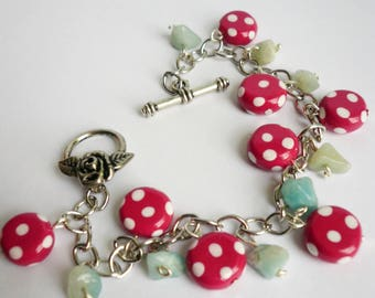 Raspberry and green charm bracelet