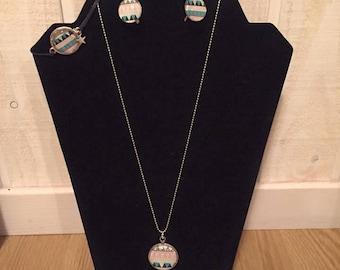 """Loop necklace """"Aztec"""" Bracelet set"""