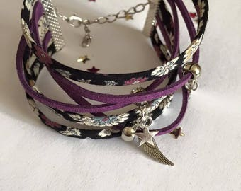 Jewelry Ribbon cuff Bracelets and charms shade of purple black