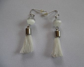 Pearl Earrings white and silver, glass, PomPoms, stainless steel.
