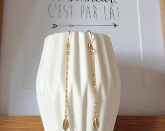 """Leaf"" earrings plated gold"