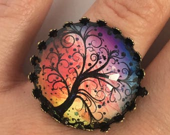 Ring adjustable glass cabochon, tree of life multicolored