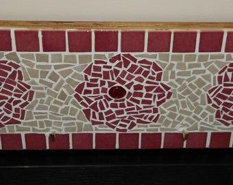"Mosaic ""Les Fleurs"" - 4 hook wall hanger"