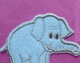 FABRIC FUSIBLE APPLIQUE: elephant blue 65 * 60mm