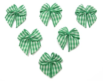 BATCH 6 fabric APPLIQUES: 24mm Green Gingham Bow