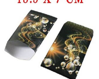 lot 50 covers fancy 13.5x7 black orange cosmos gift wrapping paper bags, jewelry